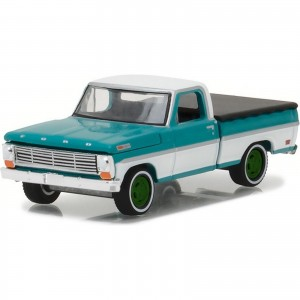 Miniatura - 1:64 - 1969 Ford F-100 with Bed Cover - Green Machine - Greenlight