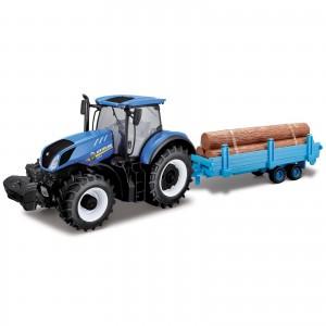Miniatura - 1:32 - Trator New Holland T7.315 com Carreta - Bburago