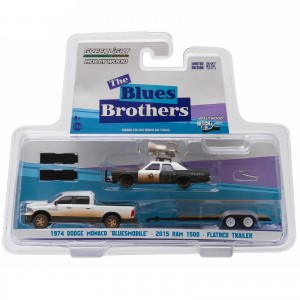 Miniatura - 1:64 - Monaco Bluesmobile & Ram 1500 - The Blue Brothers - Greenlight