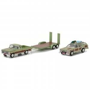 Miniatura - 1:64 - 1972 Ford F100 & 1979 Wagon Queen Family Truckster & Flated Trailer - National Lampoon's Vacation - Greenlight