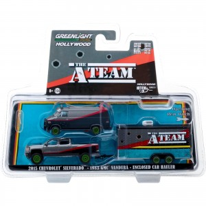 Miniatura - 1:64 - 2015 Silverado & 1983 GMC Vandura & Car Hauler - Esquadrão Classe A - Green Machine - Greenlight