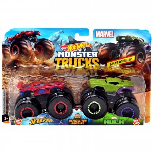 Pack com 2 Hot Wheels - 1:64 - Spider Man vs Hulk - Monster Trucks - GBT68