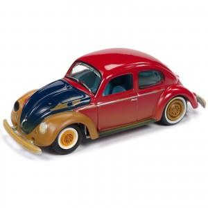 Miniatura - 1:64 - 1951 VW Fusca Split Window Beetle - Vermelho - Street Freaks - Johnny Lightning