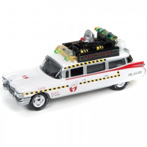 Miniatura - 1:64 - ECTO 1A 1959 Cadillac Eldorado - Ghostbusters Caça Fantasmas - Silver Screen Machines - Johnny Lightning