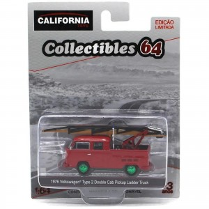Miniatura - 1:64 - 1976 Kombi Type 2 Double Cab Pickup Ladder Truck - Green Machine - Greenlight