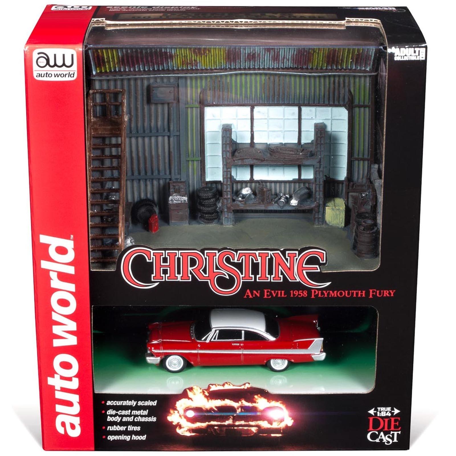 Diorama - 1:64 - Christine an Evil 1958 Plymouth Fury - Silver Screen - Johnny Lightning