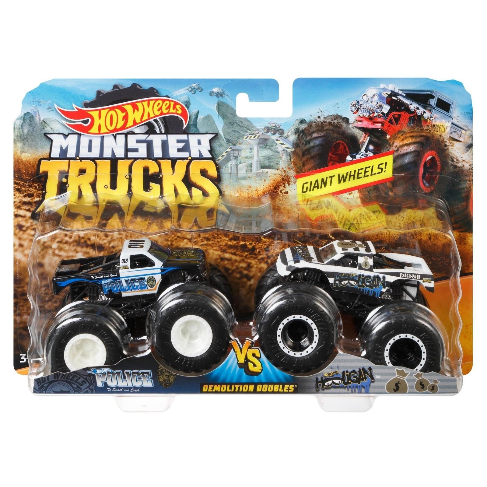 Pack com 2 Hot Wheels - 1:64 - Police vs Hoooligan - Monster Trucks - FYJ68