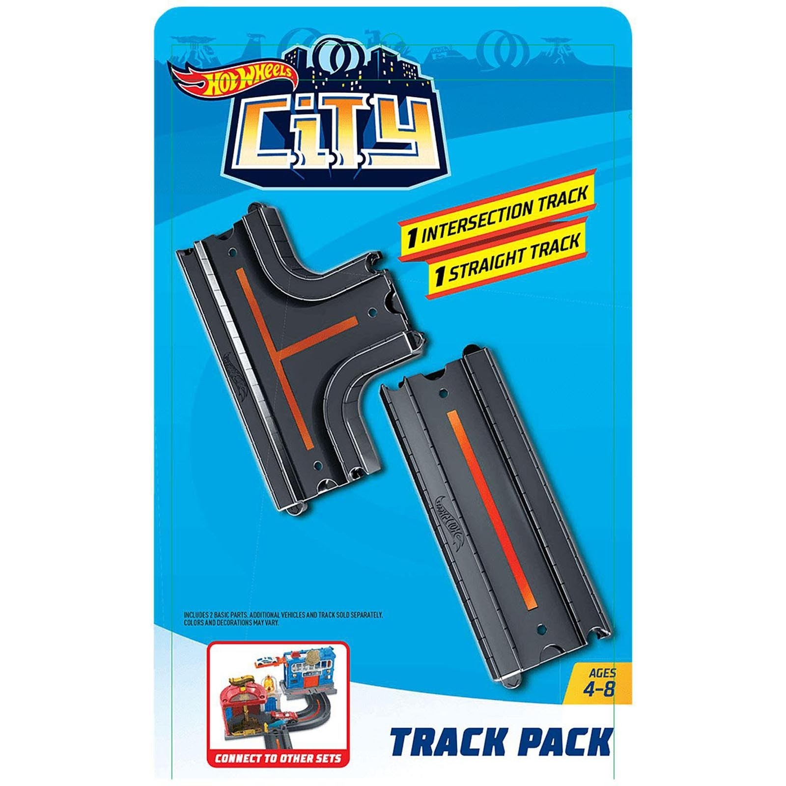 Pista Hot Wheels - 1 Seção Reta e 1 Intersecção - HW City - GBK38