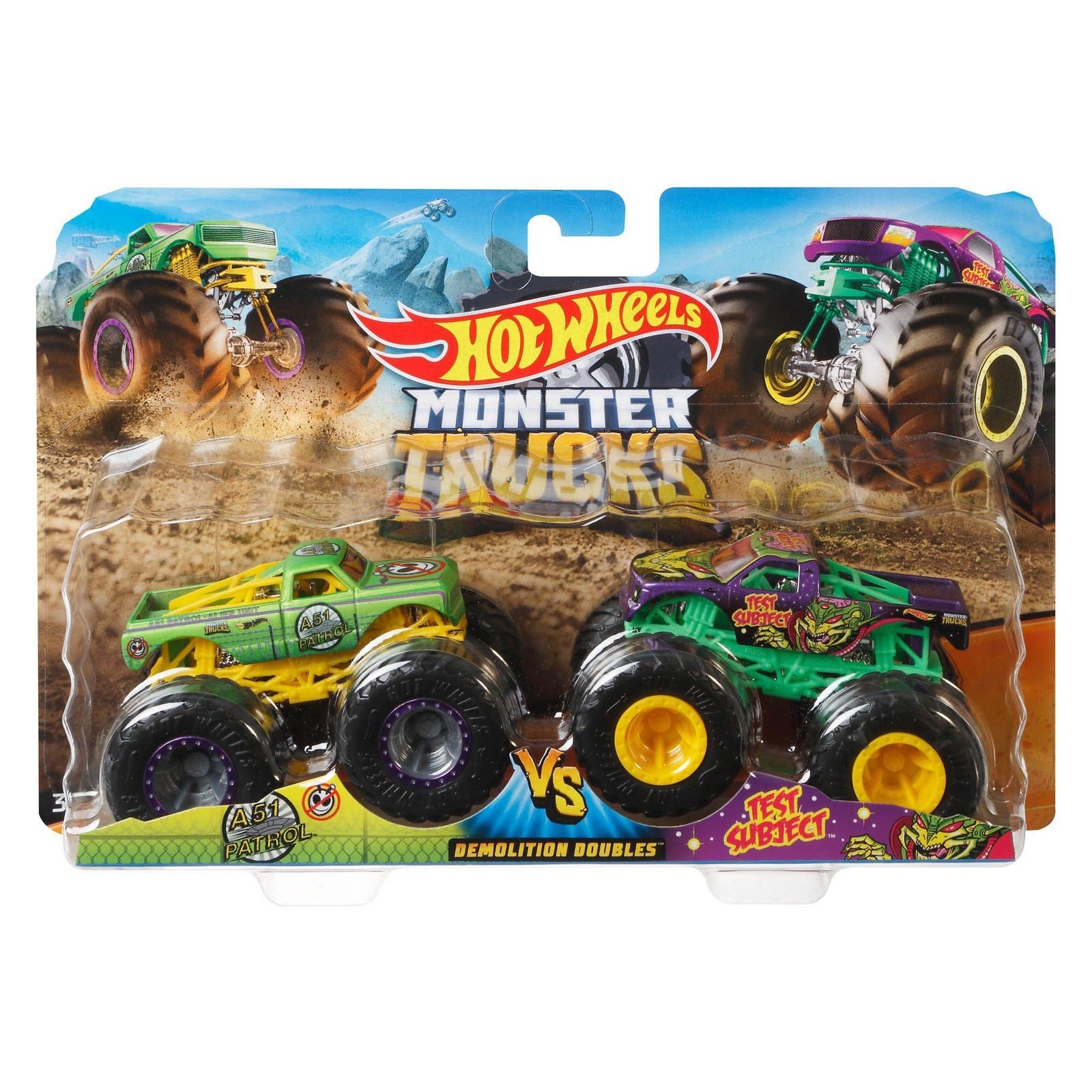 Pack com 2 Hot Wheels - 1:64 - A51 Patrol vx Test Subject - Monster Trucks - GJF67