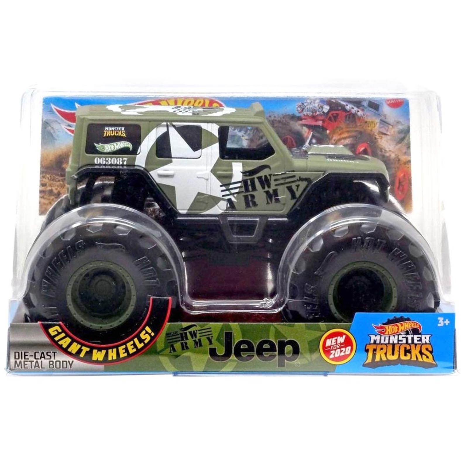 Hot Wheels - 1:24 - Jeep Militar - Monster Trucks - GJG71