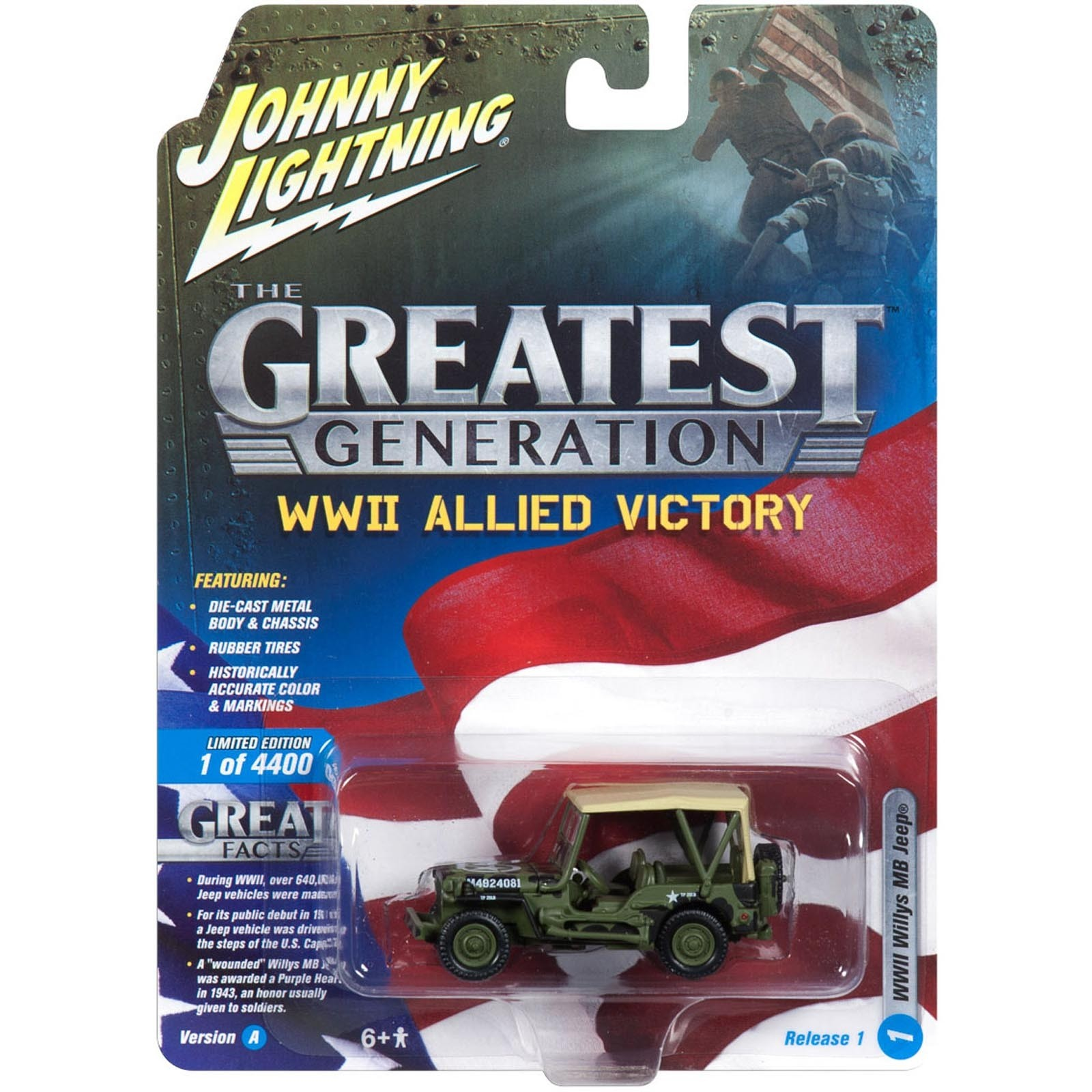 Miniatura - 1:64 - WWII Willys MB Jeep - The Greatest Generation - Johnny Lightning
